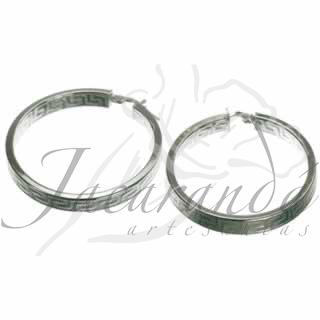 Aros de Plata 925 diseño grecas finas de 35 mm de diámetro