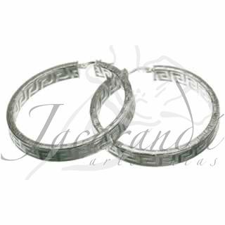 Aros de Plata 925 diseño grecas 45 mm de diámetro