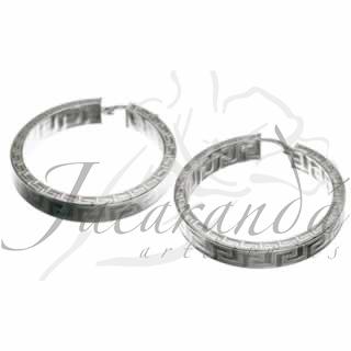 Aros de Plata 925 diseño grecas dobles de 30 mm de diámetro