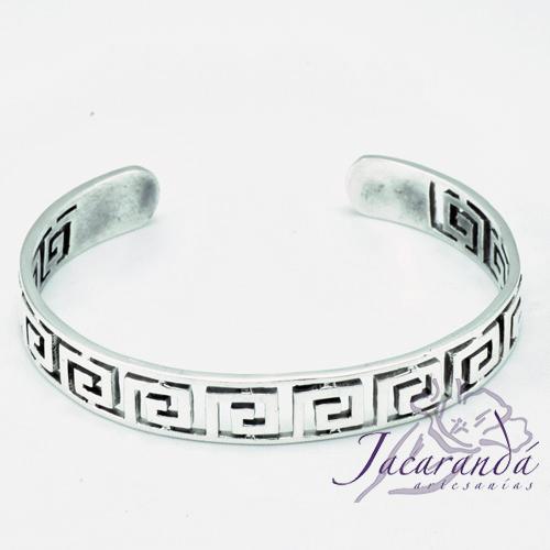Brazalete de Plata calado diseño Grecas