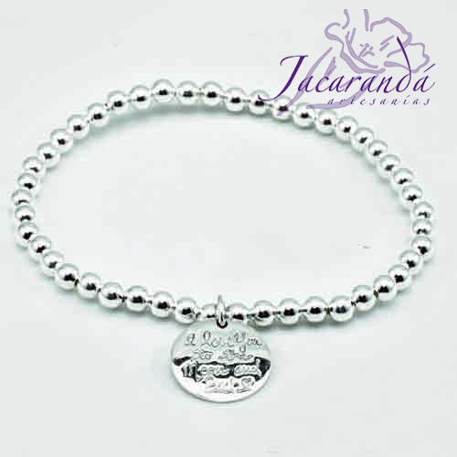 Pulsera de Plata de bolitas elásticas con colgante I love you to the moon….