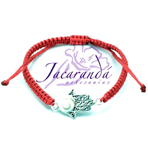 Pulsera macramé roja con centro mano de Fátima de plata ojo de Shiva