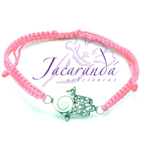 Pulsera macramé rosa con centro mano de Fátima de plata ojo de Shiva