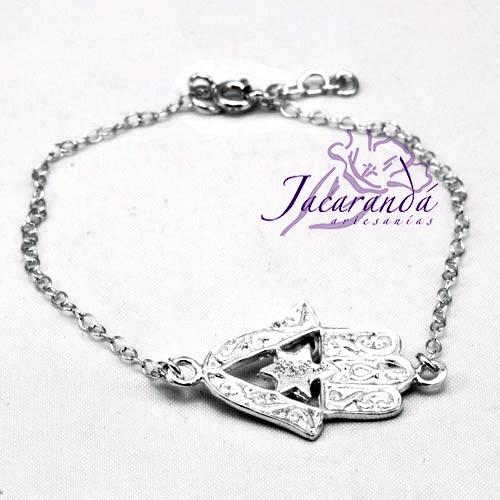 Pulsera cadena de plata centro mano de Fátima con estrella