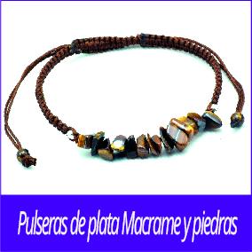 Pulseras de plata Macrame y piedras