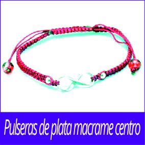 Pulseras de plata macrame centro