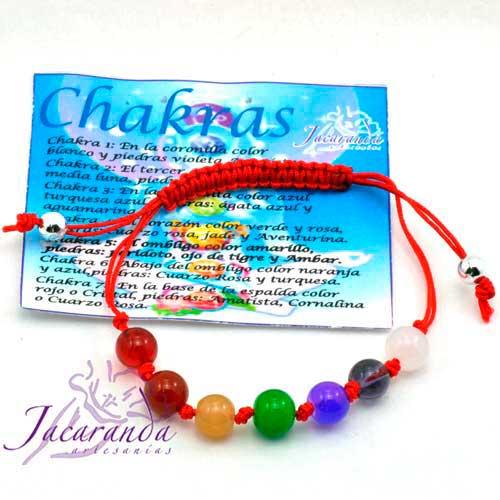 1121 1 Pulsera de los 7 Chakras macrame Rojo 2