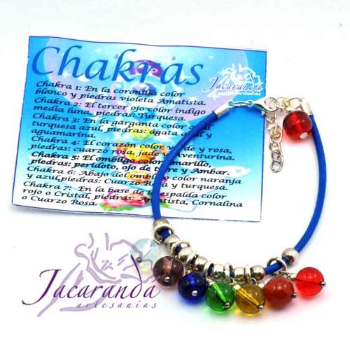 Pulsera de cuero Azul y piedras de los 7 Chakras