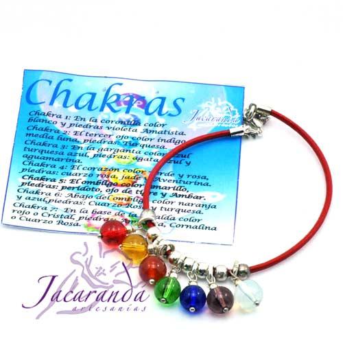1121 3 Pulsera de cuero Rojo y piedras de los 7 Chakras 1