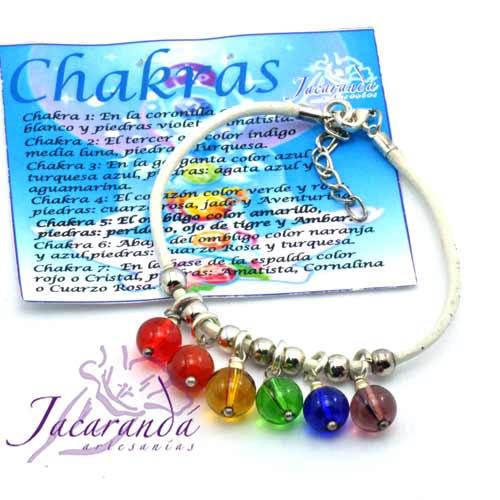 1121 6 Pulsera de cuero Natura y piedras de los 7 Chakras 1