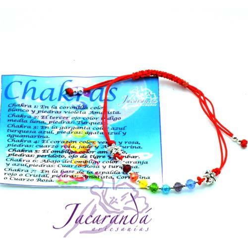 Pulsera de los 7 Chakras macrame Rojo con Piedras de Cristal