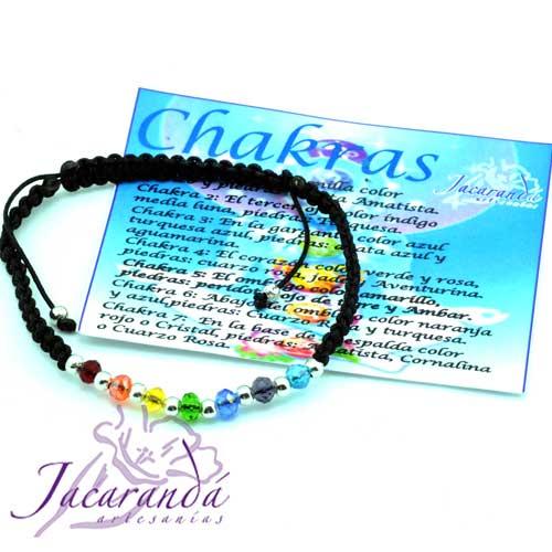 Pulsera de los 7 Chakras macramé Negro con Piedras de Cristal