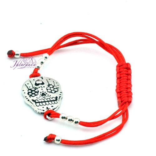 Pulsera cordón seda rojo nudo Macramé centro Catrina