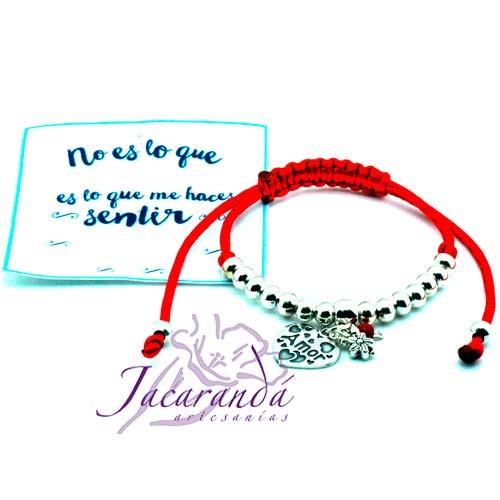 Pulsera de cordón de seda rojo medalla Amor