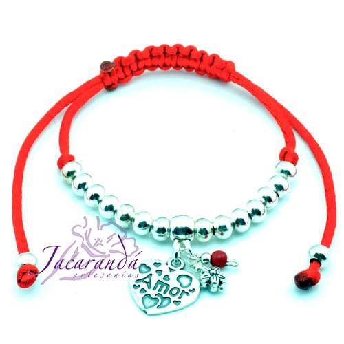 Pulsera de cordon de seda rojo medalla Amor