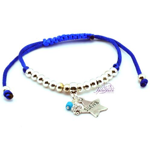 Pulsera de cordon de seda Azul Medalla Sueña