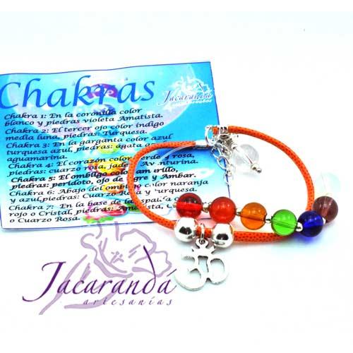1150 2 Pulsera de piel plana Naranja 7 Chakras con medalla símbolo OM 4
