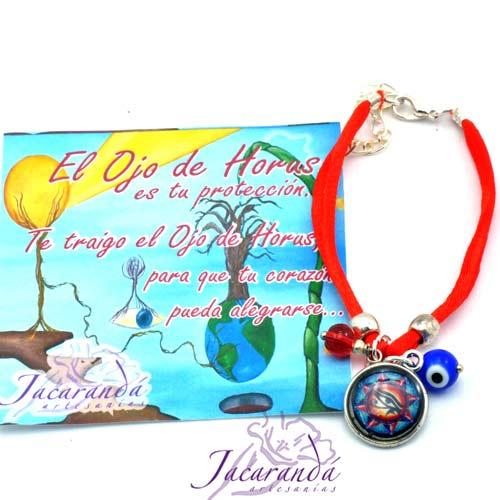 1150 5 Pulsera dos hilo seda rojo con medalla Ojo de HorusOjito protector y Rojo Magico 1