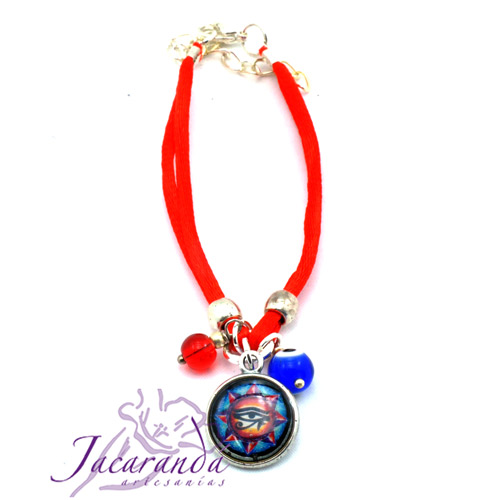 Pulsera dos hilo seda rojo con medalla Ojo de Horus, Ojito protector y Rojo Mágico