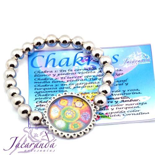 Pulsera perlas de metal enchapadas en plata simbolo 7 chakras