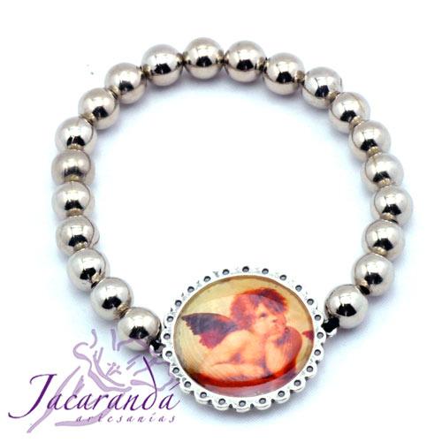 Pulsera perlas de metal enchapadas en plata simbolo Angelitos
