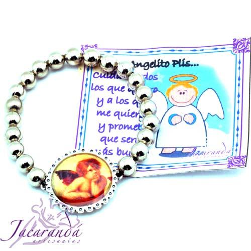 1150 7 Pulsera perlas de metal enchapadas en plata simbolo Angelitos 3