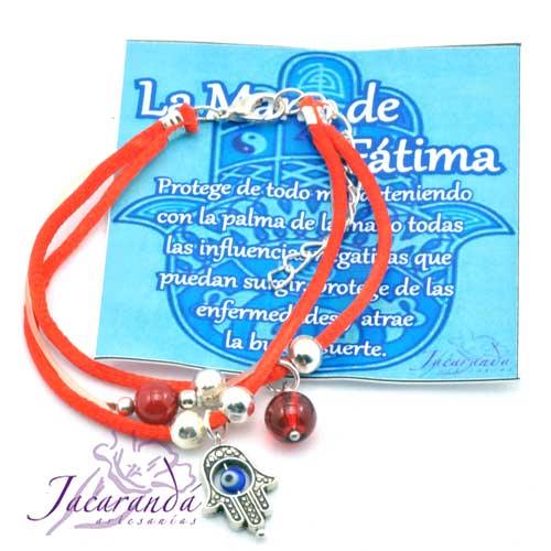 1155 2 Pulsera dos cordones de seda rojo con colgante mano de Fátima con ojito 4