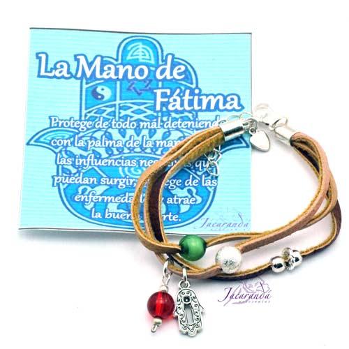 Pulsera 3 cordones de piel con Mano de Fátima