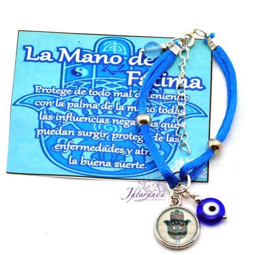 Pulsera dos hilos seda color turquesa con colgante Mano de Fatima