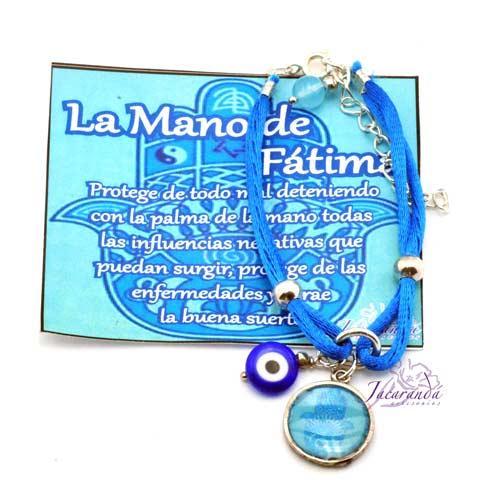 1156 4 Pulsera dos hilos seda color turquesa con colgante Mano de Fatima 4