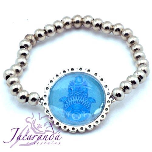 Pulsera perlas de metal enchapadas en plata simbolo Mano de Fatima