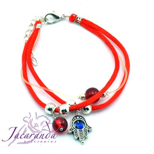Pulsera dos cordones de seda Rojo con medalla mano de Fátima y Ojito protector