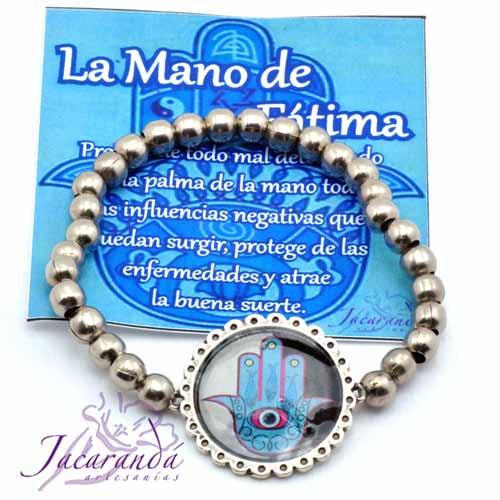 1157-1 Pulsera perlas de metal enchapadas en plata simbolo Mano de Fátima
