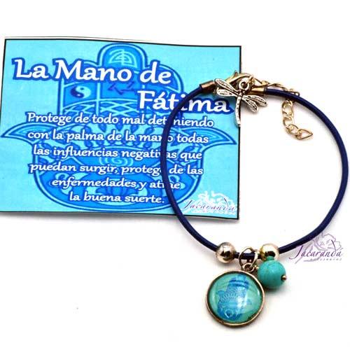 1157 2 Pulsera cordon de piel turquuesa con medalla Mano de Fatima 2