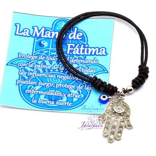1157 4 Pulsera cordon de piel Negro ajustable con medalla de Mano de Fátima y ojo turco 2