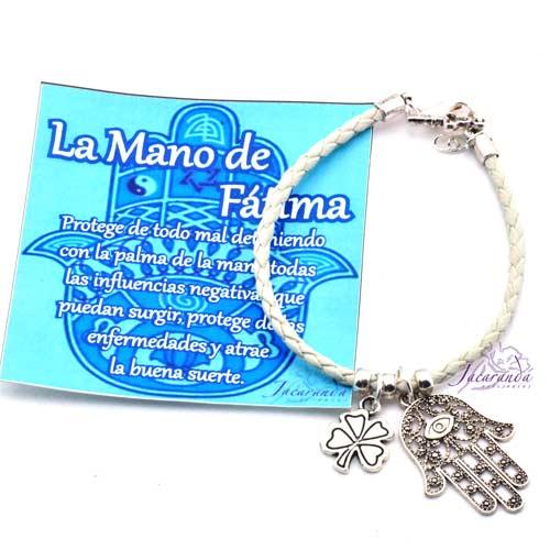 1157 5 Pulsera de cuero trenzado Natura con colgante mano de Fatima 2