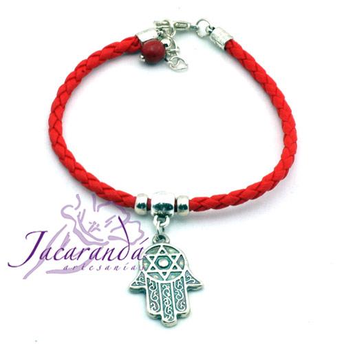 Pulsera de cuero trenzado Rojo con medalla mano de Fatima