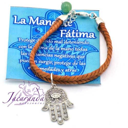 Pulsera de cuero trenzado espiga marron con medalla mano de Fatima