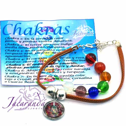 1158 1Pulsera de piel plana Marron 7 Chakras con medalla de meditacion 2