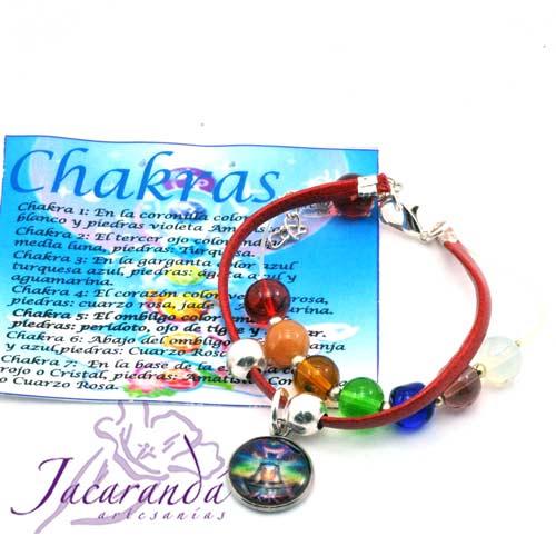 1158-Pulsera de piel plana Rojo 7 Chakras con medalla de meditación