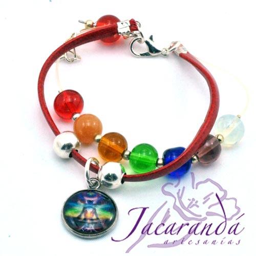 Pulsera de piel plana Rojo 7 Chakras con medalla de meditación