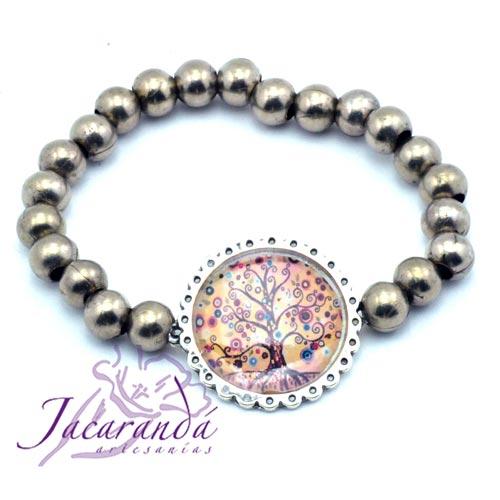 Pulsera perlas de metal enchapadas en plata símbolo Árbol de la vida centro marrón