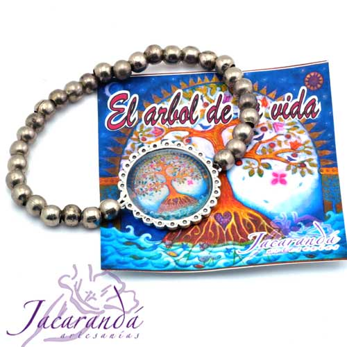 1160 5 Pulsera perlas de metal enchapadas en plata símbolo Árbol de la vida centro Azul 1