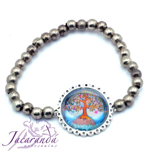 Pulsera perlas de metal enchapadas en plata símbolo Árbol de la vida centro Azul