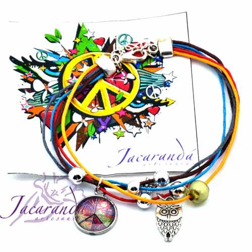 1171 1 Pulsera multihilo con medalla símbolo de la paz 2