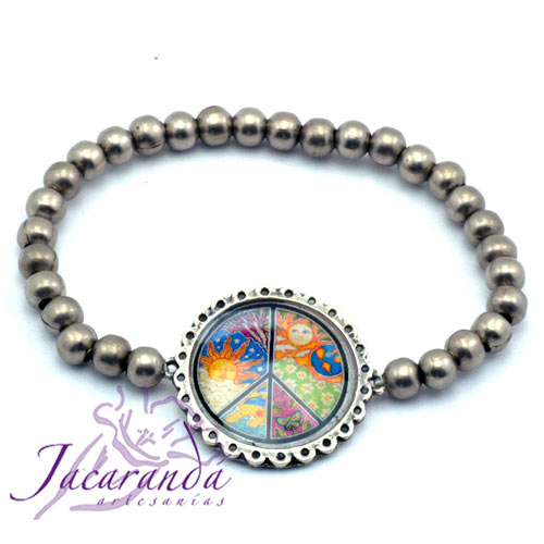 Pulsera perlas de metal enchapadas en plata simbolo Signo de la paz