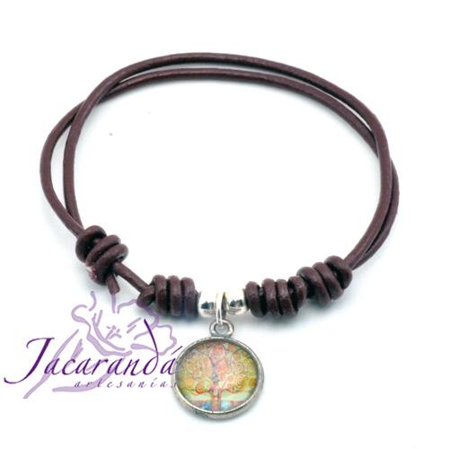 Pulsera de piel marrón regulable centro medalla árbol de la vida