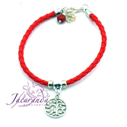 Pulsera de piel trenzada rojo centro medalla árbol de la vida