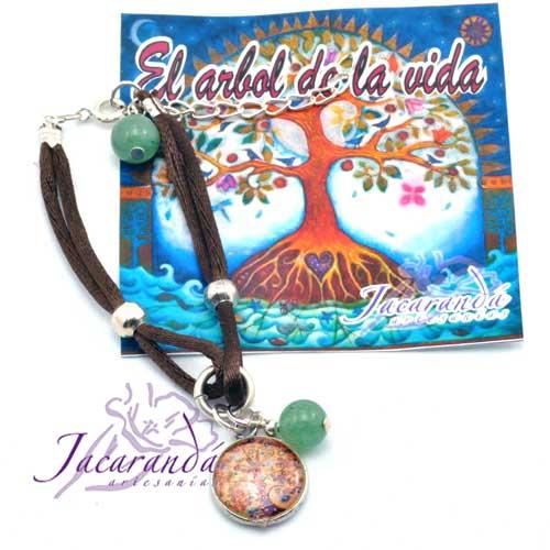 Pulsera doble de seda marrón centro medalla árbol de la vida piedra aventurina de suerte
