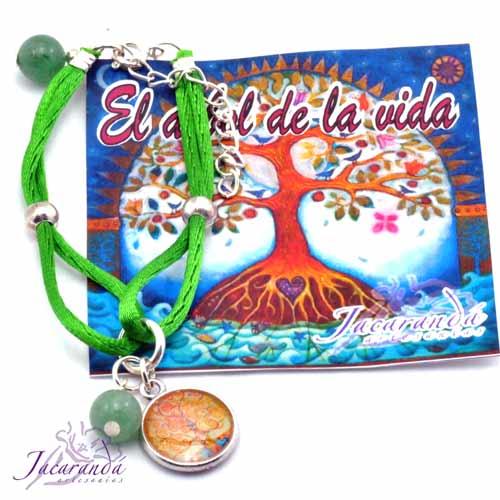Pulsera doble de seda Verde centro medalla árbol de la vida piedra aventurina de suerte